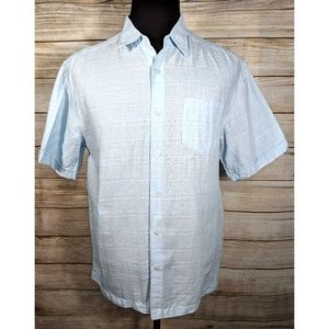 Cubavera Blue Camp Button Down Cigar Mens Shirt L